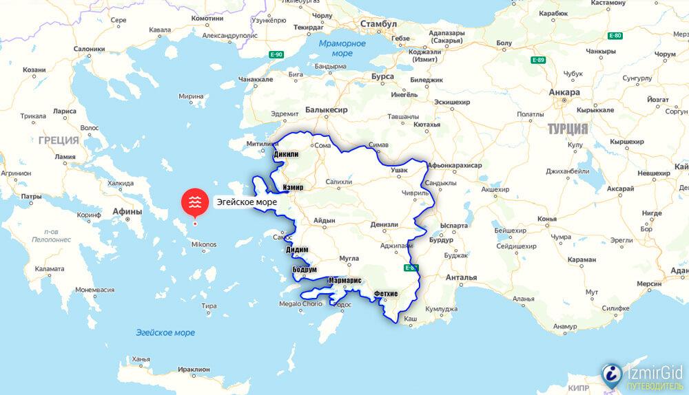 Эгейское побережье Турции, курорты у моря