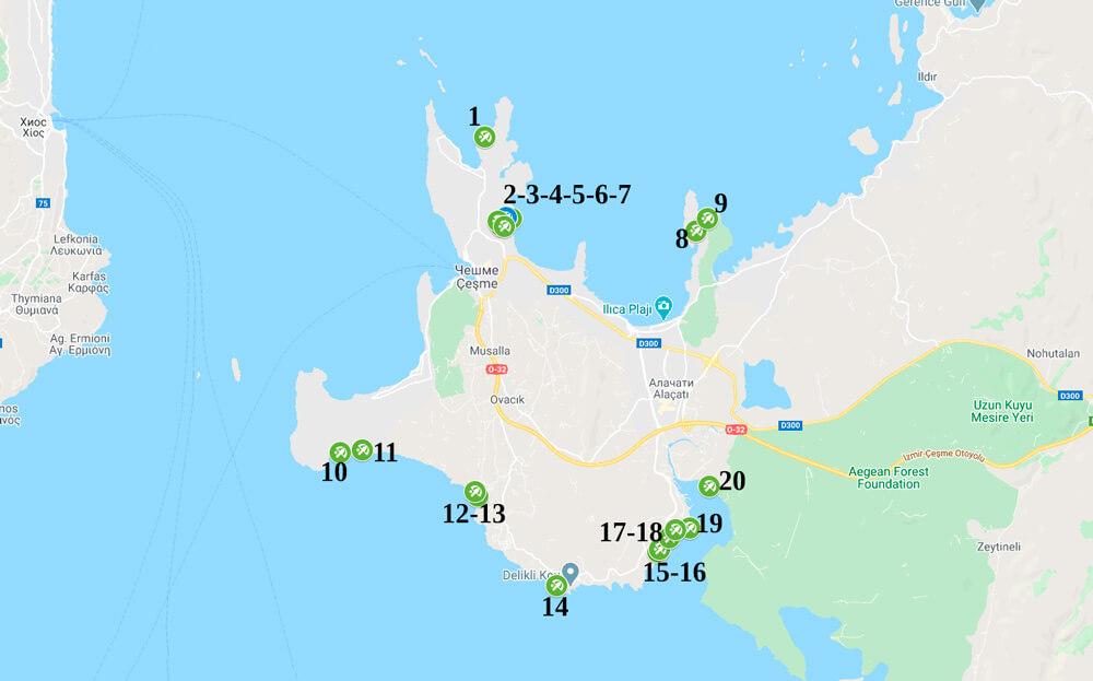 Пляжные клубы в Чешме на карте