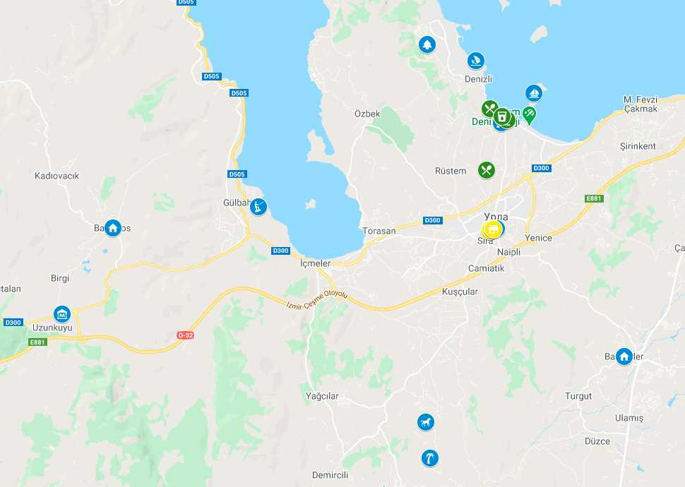 Достопримечательности города Урла на карте