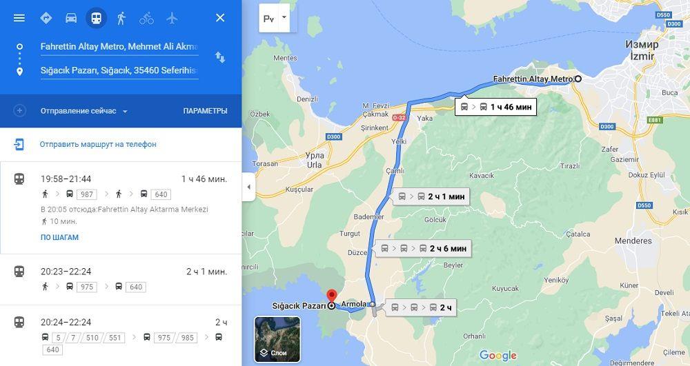 Общественный транспорт Измира на картах Google