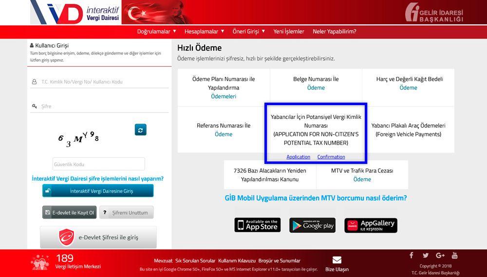 Турецкий налоговый номер можно получить онлайн